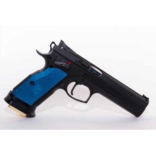 Cachas CZ 75 SP01 M-Arms aluminio azul cortas